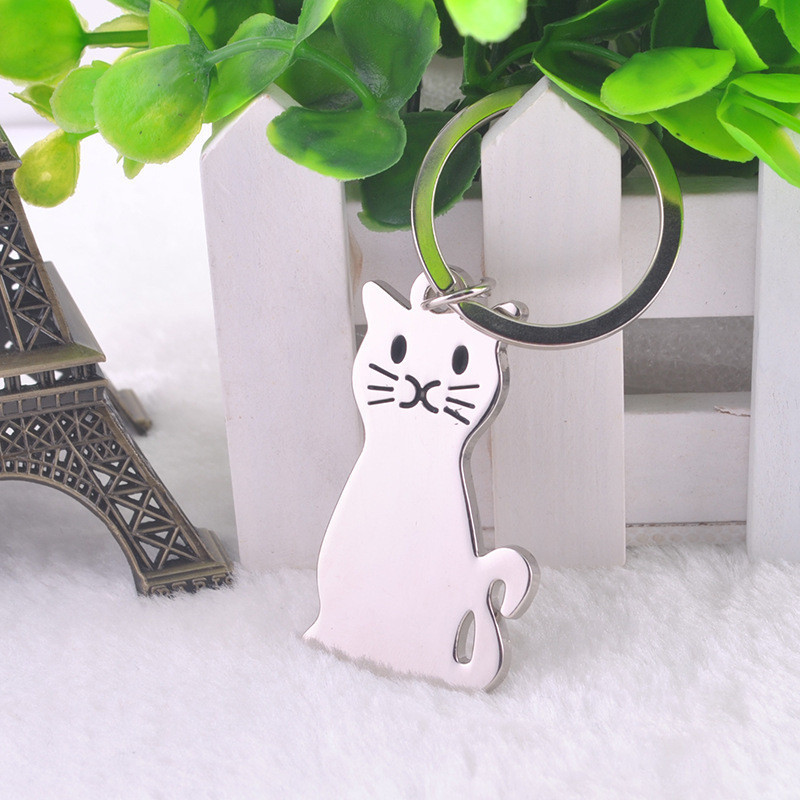 Porte cl s chat argent chatmoureux for Porte a chat