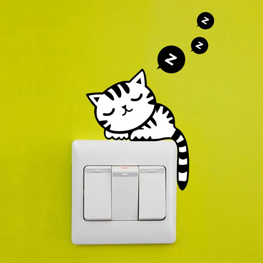 sticker chat pour interrupteur et prise chatmoureux. Black Bedroom Furniture Sets. Home Design Ideas